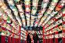 試験点灯されたOSAKA光のルネサンス2017の「台南・光の廟埕(びょうてい)」=大阪市北区で2017年12月13日午後5時44分、猪飼健史撮影